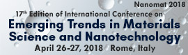NanoMat 2018 - 17th Edition of International Conference on Emerging Trends in Materials Scientce and Nanotechnology. Date: 26-27 April 2018. Localization: Italy, Rome.
